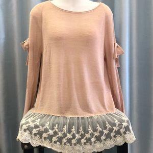 Super cute cold shoulder sweater with lace trim